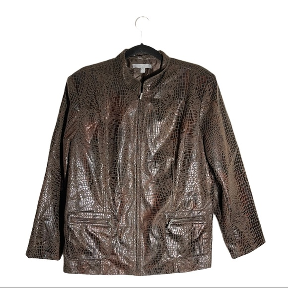 NY Collection Reptile Print Jacket